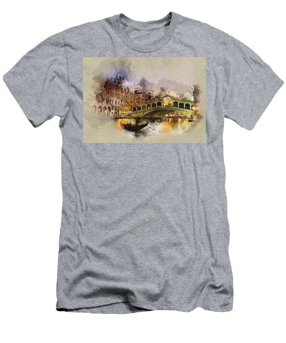 Venezia Men's T-Shirt (Athletic Fit) featuring the painting Venezia, Canal Grande by Dante Blacksmith