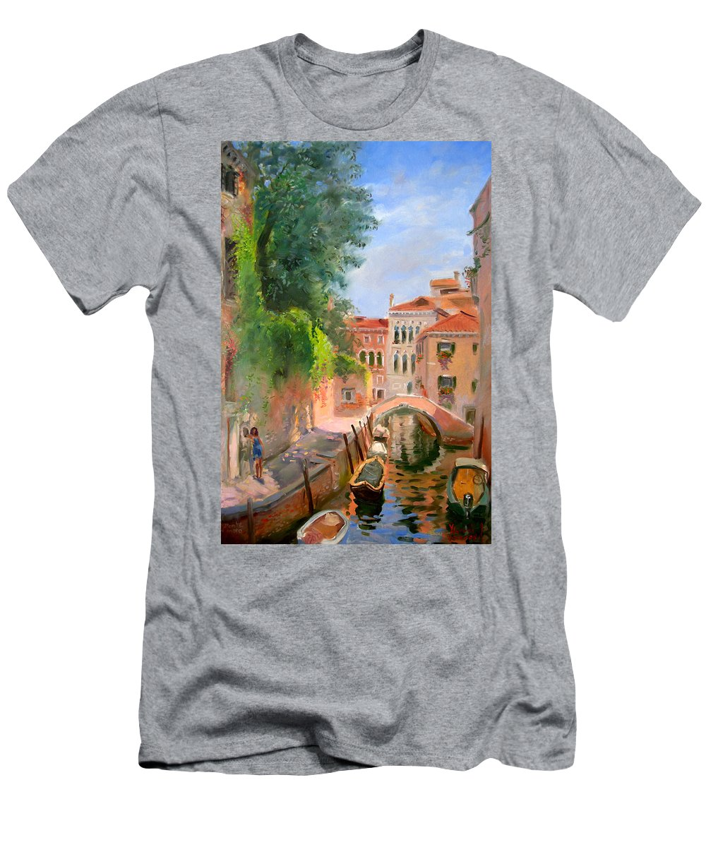 Venice Ponte Moro Men's T-Shirt (Athletic Fit) featuring the painting Venice Ponte Moro by Ylli Haruni