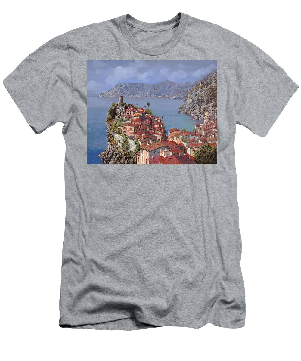 Seascapes Men's T-Shirt (Athletic Fit) featuring the painting Vernazza-cinque Terre by Guido Borelli
