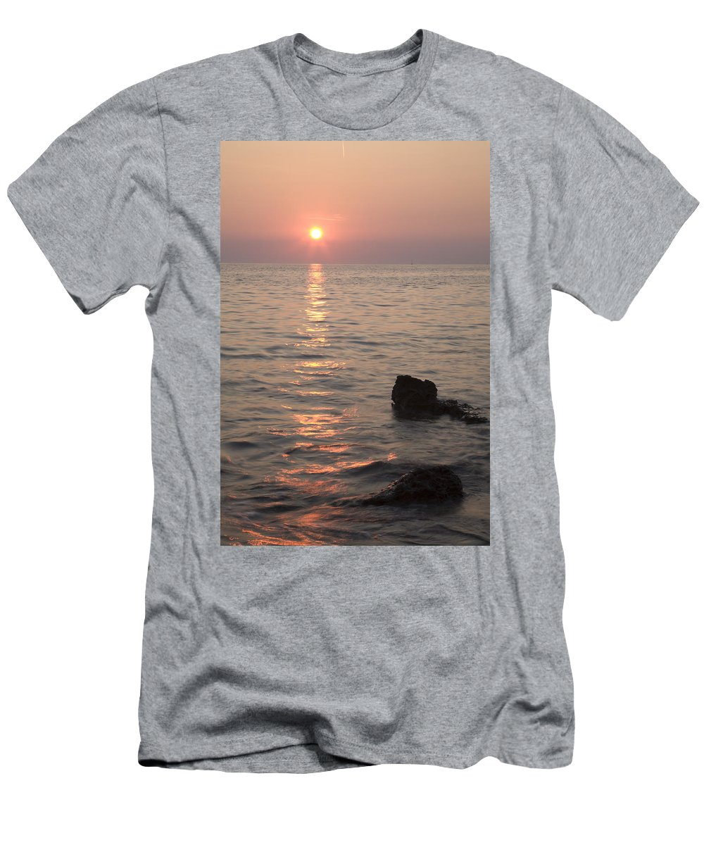 Sea Men's T-Shirt (Athletic Fit) featuring the photograph Verudela Beach At Sundown by Ian Middleton