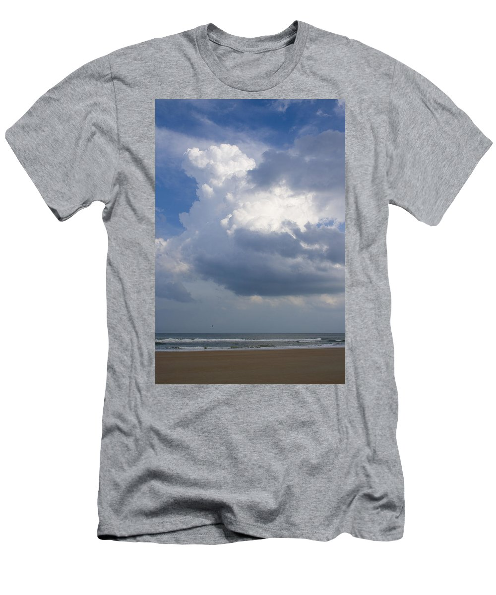 Ocean Nature Beach Sand Wave Water Sky Cloud White Bright Big Sun Sunny Vacation Relax Blue Men's T-Shirt (Athletic Fit) featuring the photograph Vessels In The Sky by Andrei Shliakhau