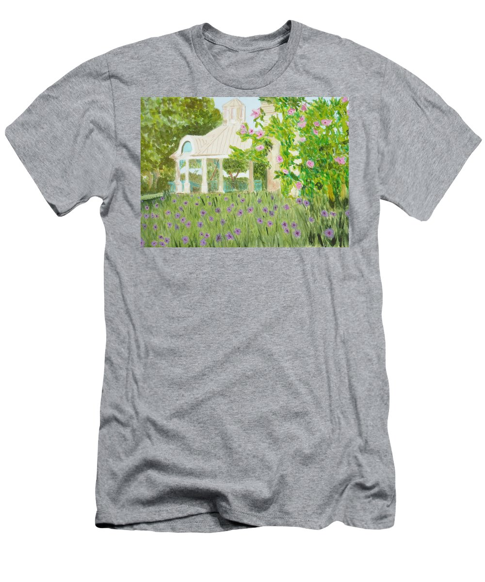 Park Men's T-Shirt (Athletic Fit) featuring the painting Veteran's Park by Donna Walsh