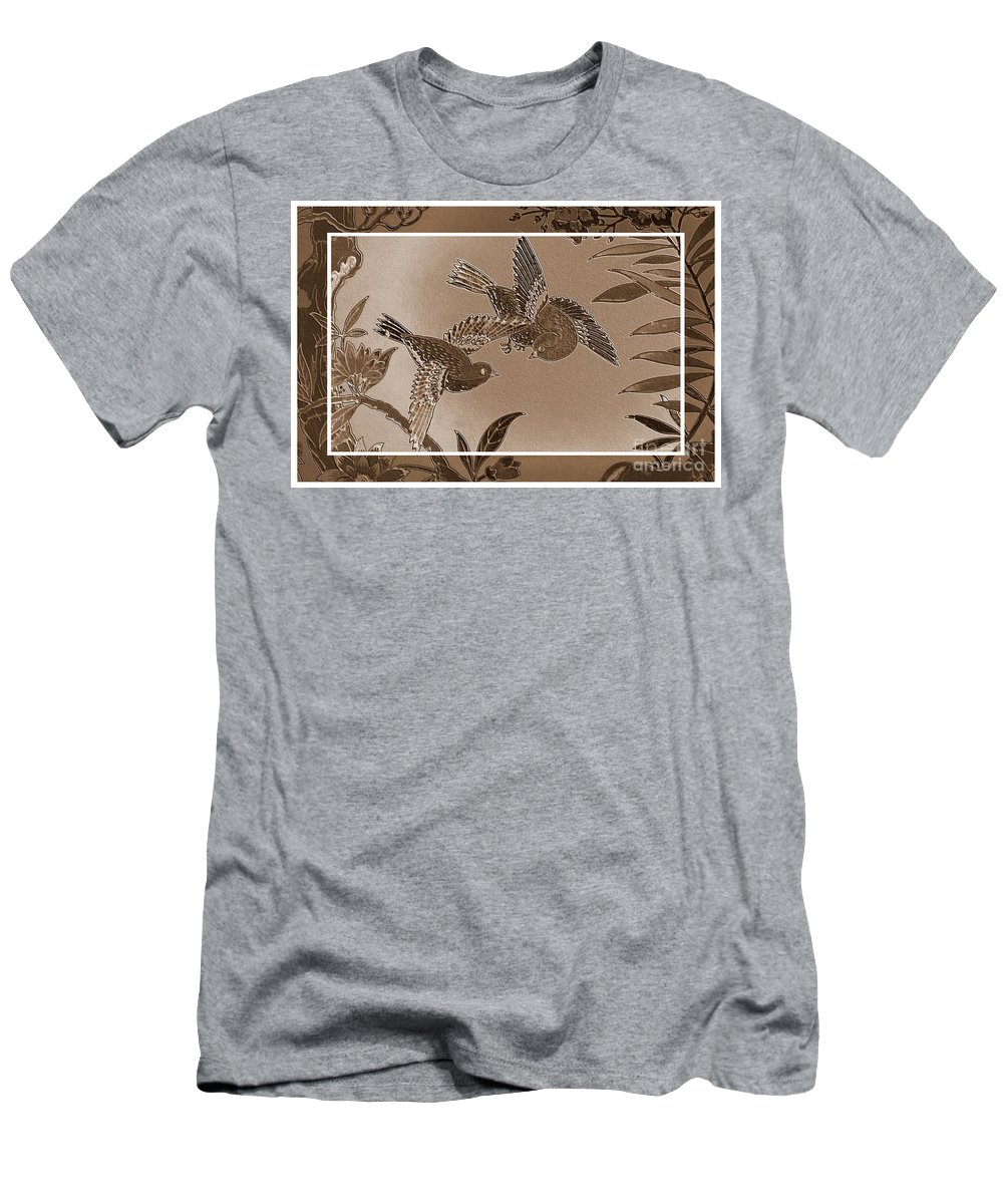 Sepia Men's T-Shirt (Athletic Fit) featuring the photograph Victorian Birds In Sepia by Carol Groenen