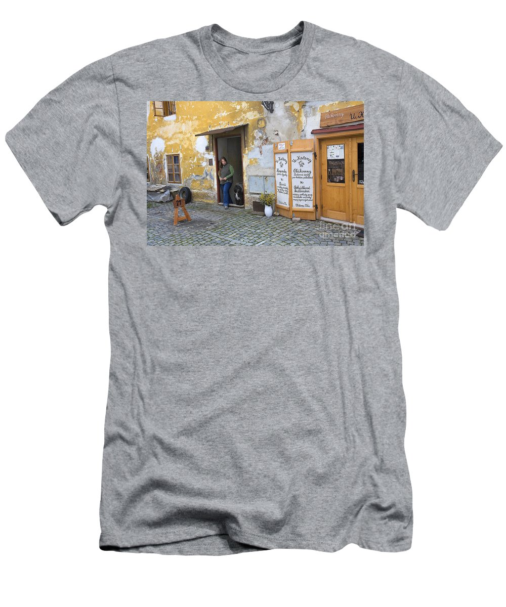 Vienna Men's T-Shirt (Athletic Fit) featuring the photograph Vienna Girl And Dog by Madeline Ellis
