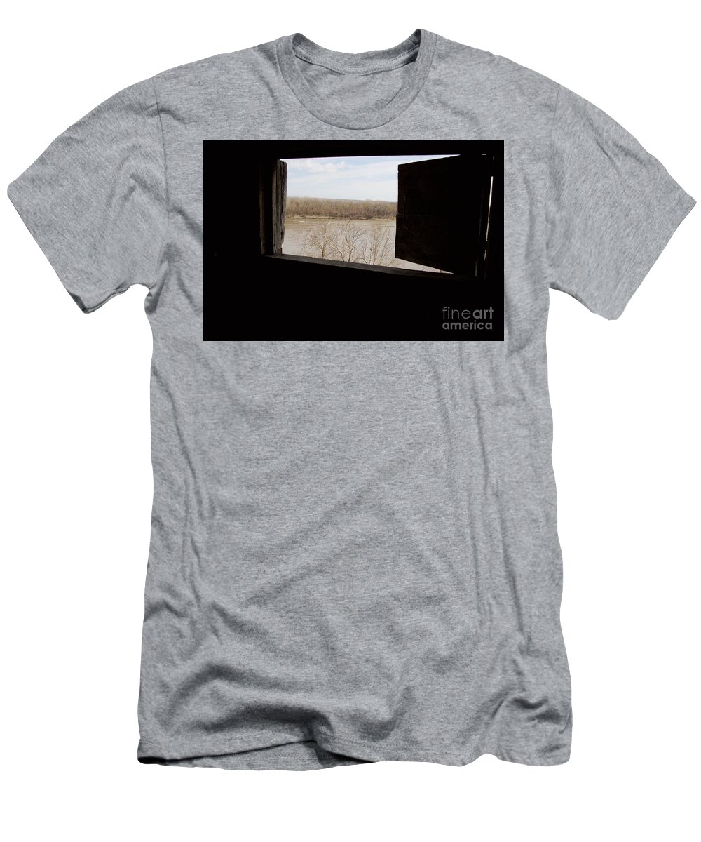 Fort Osage Men's T-Shirt (Athletic Fit) featuring the photograph View From A Fort by John Franke