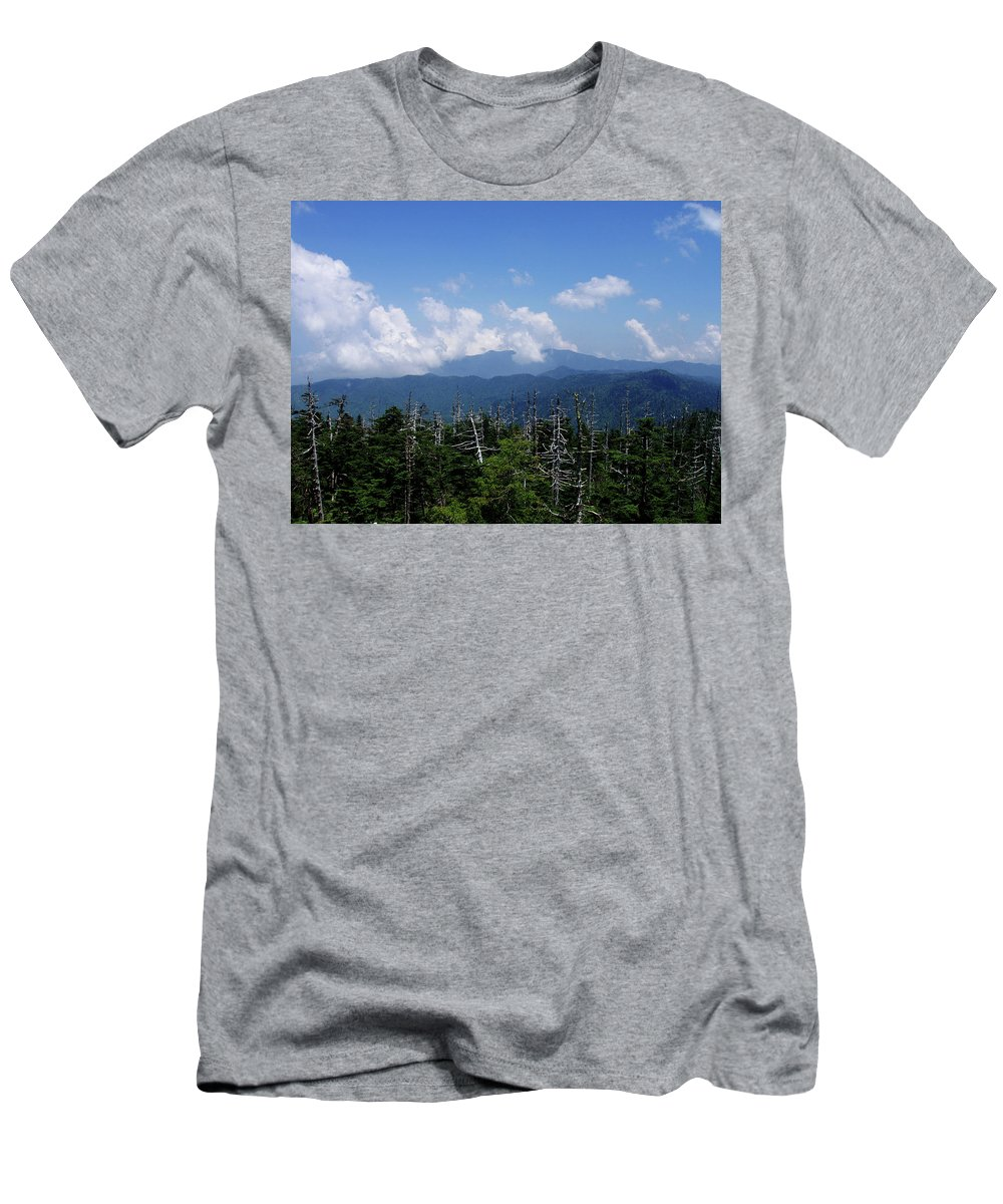 Smoky Mountains Men's T-Shirt (Athletic Fit) featuring the photograph View From Clingman's Dome by Nancy Mueller