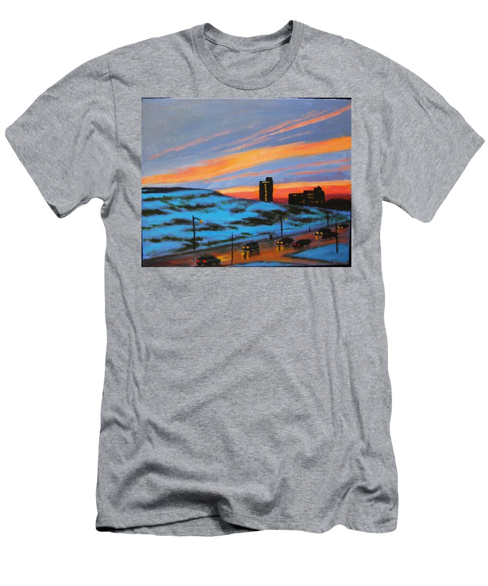 City At Night Men's T-Shirt (Athletic Fit) featuring the painting View From My Balcony by John Malone