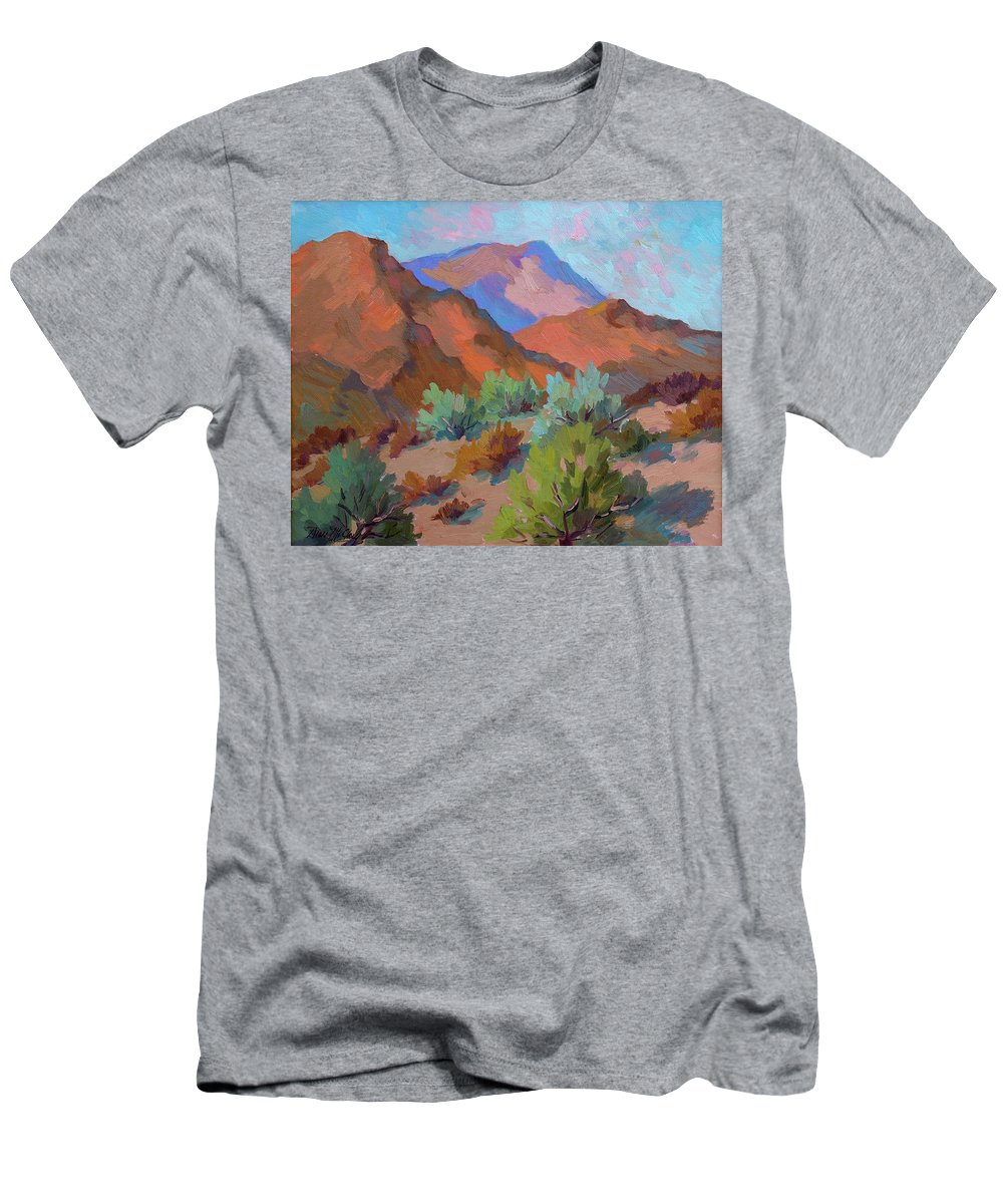 View From Visitor Center Men's T-Shirt (Athletic Fit) featuring the painting View From Santa Rosa - San Jacinto Visitor Center by Diane McClary
