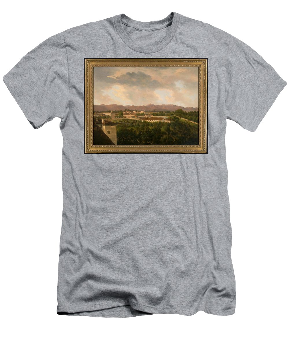 Mexican Men's T-Shirt (Athletic Fit) featuring the painting View Of A Mine In Mineral Del Pozos by Mexican School 19th Century