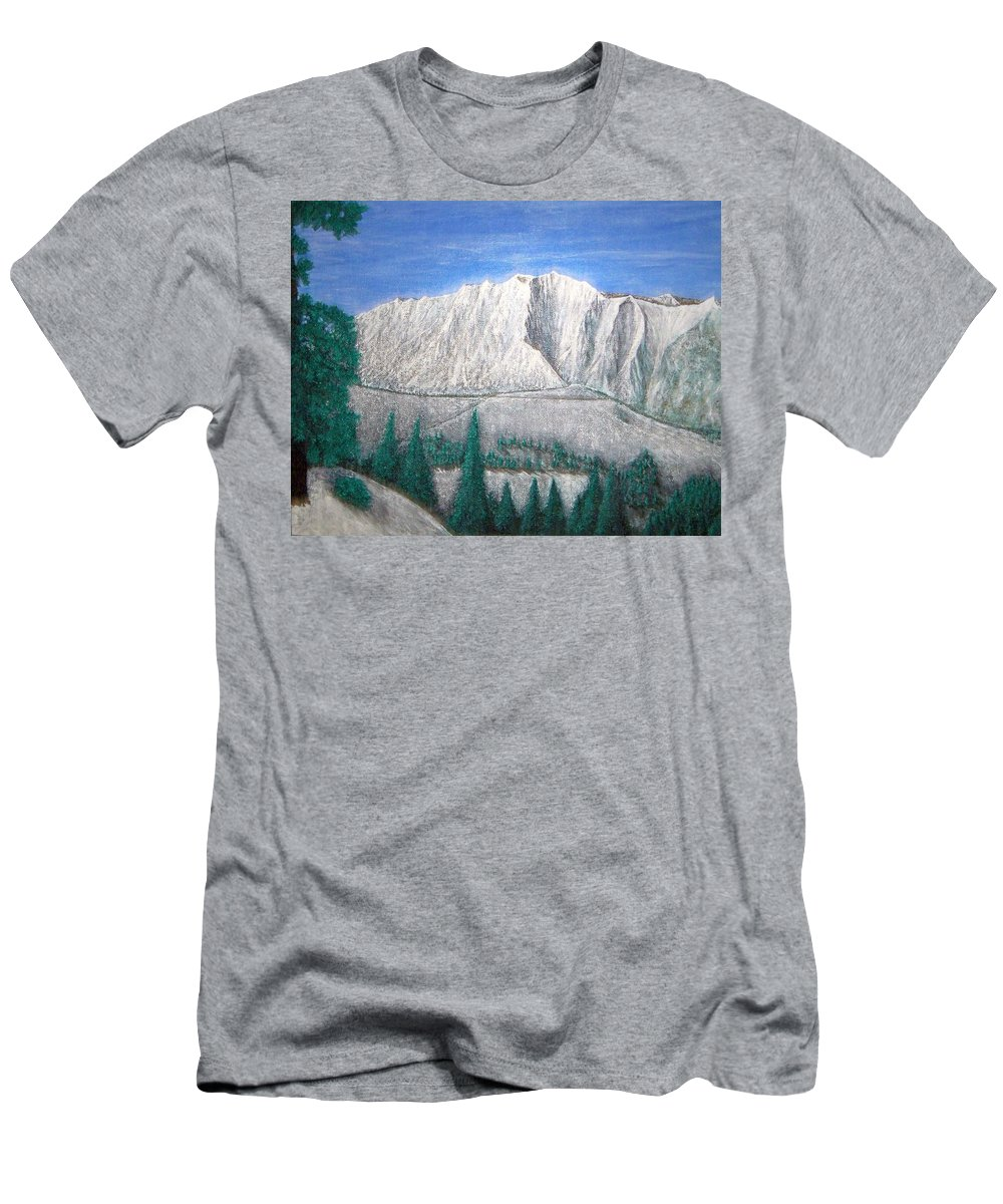 Snow Men's T-Shirt (Athletic Fit) featuring the painting Viewfrom Spruces by Michael Cuozzo