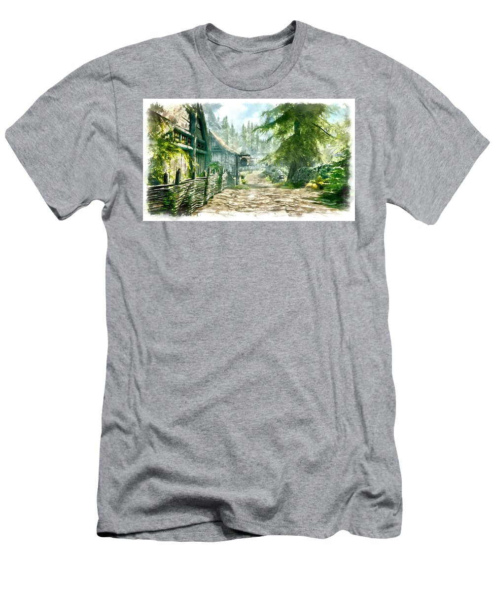 Viilage Men's T-Shirt (Athletic Fit) featuring the digital art Village by Marjan Mencin