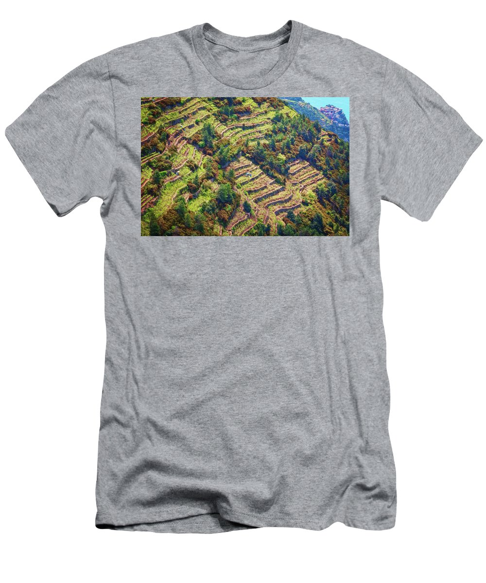 Joan Carroll Men's T-Shirt (Athletic Fit) featuring the photograph Vineyard Terraces Cinque Terre Italy by Joan Carroll