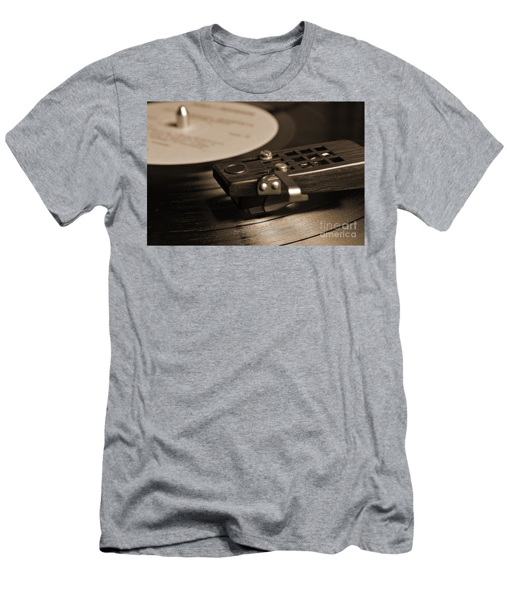 50s Men's T-Shirt (Athletic Fit) featuring the photograph Vinyl Record Playing On A Turntable In Sepia by Angelo DeVal