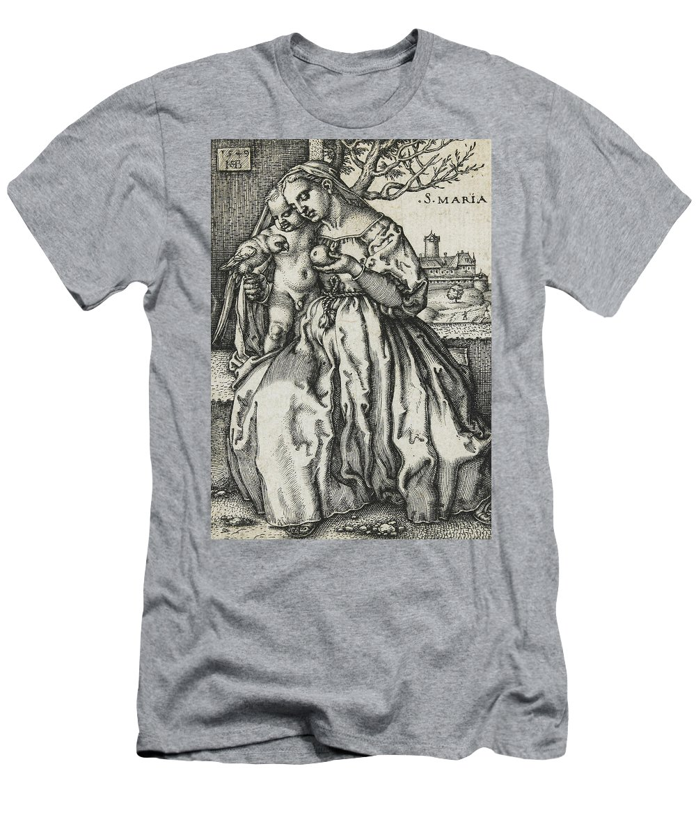 Virgin And Child With A Parrot Men's T-Shirt (Athletic Fit) featuring the drawing Virgin And Child With A Parrot by Hans Sebald Beham