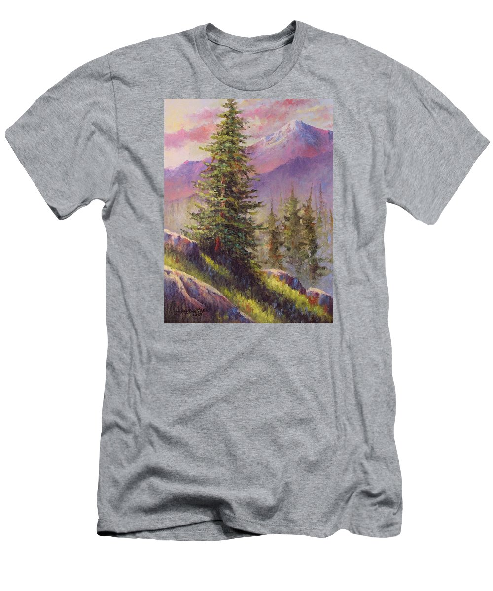 Mountain Men's T-Shirt (Athletic Fit) featuring the painting Vista View by David G Paul