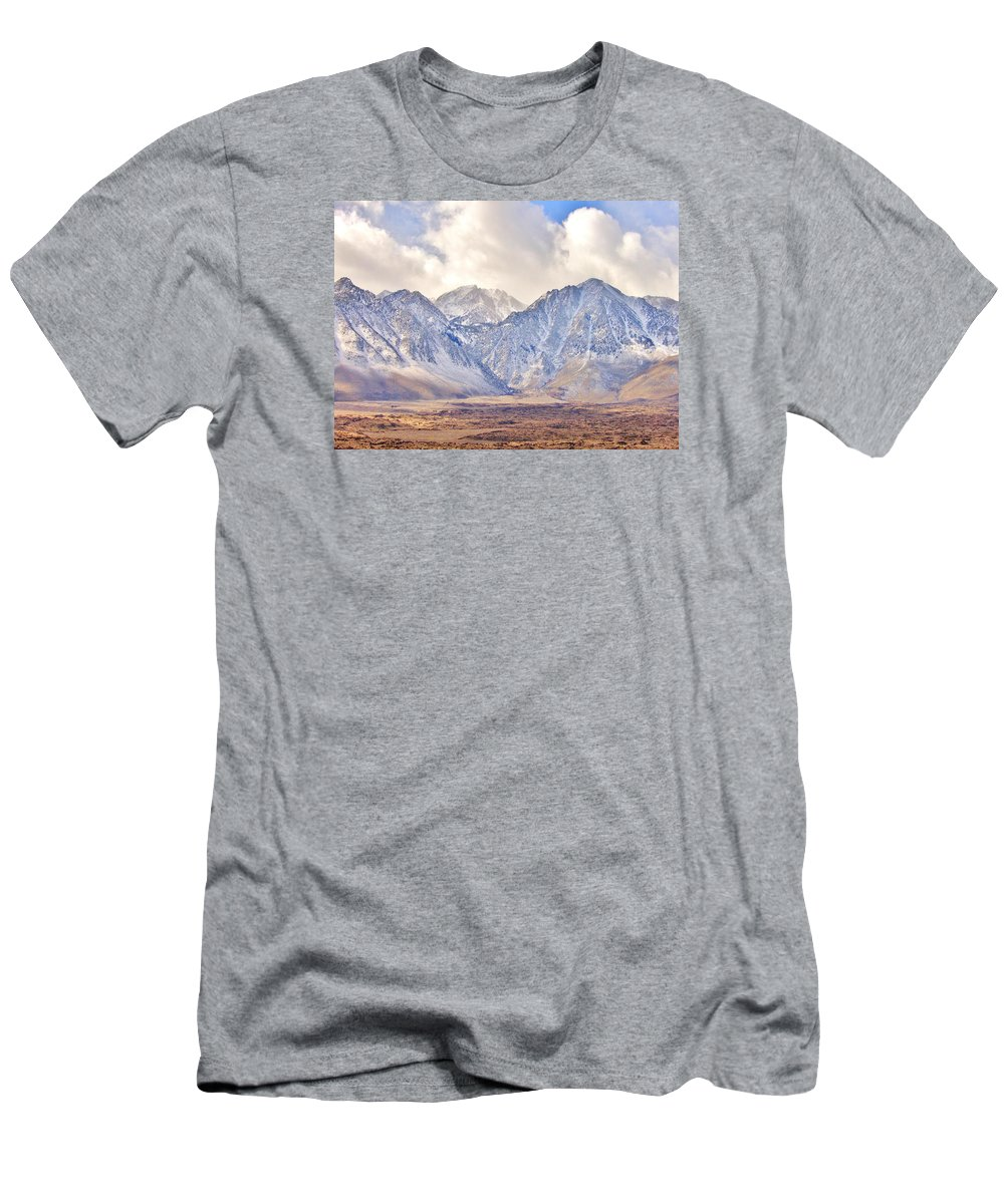 Sky Men's T-Shirt (Athletic Fit) featuring the photograph Volcanic Terrain by Marilyn Diaz