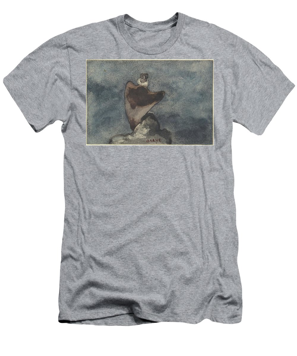 Antoine-louis Barye Men's T-Shirt (Athletic Fit) featuring the painting Vulture by MotionAge Designs