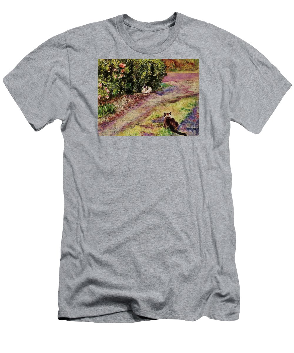 Cynthia Pride Watercolor Painting Men's T-Shirt (Athletic Fit) featuring the painting Waiting by Cynthia Pride
