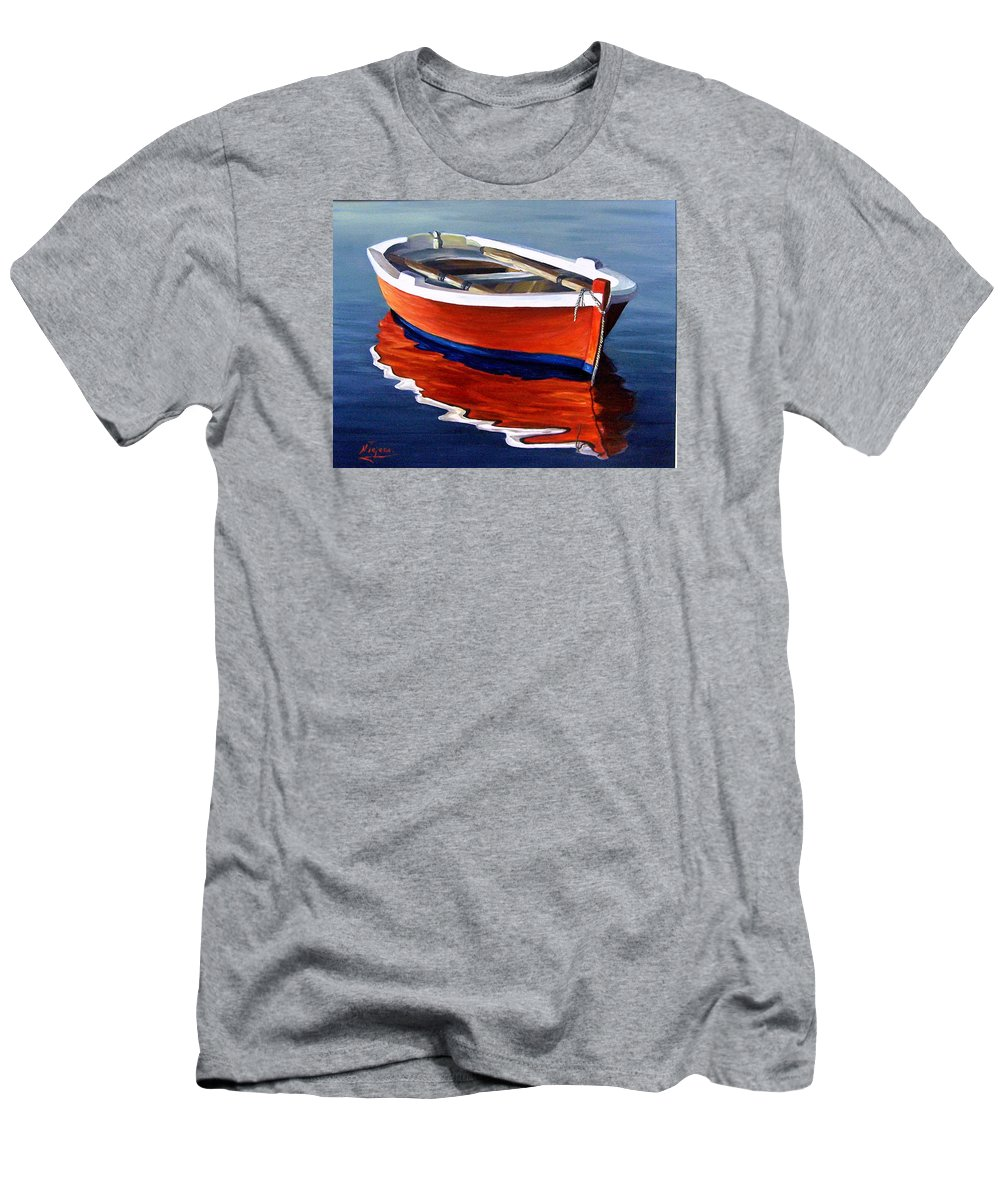 Seascape Water Boat Reflection Ocean Sea Men's T-Shirt (Athletic Fit) featuring the painting Waiting by Natalia Tejera
