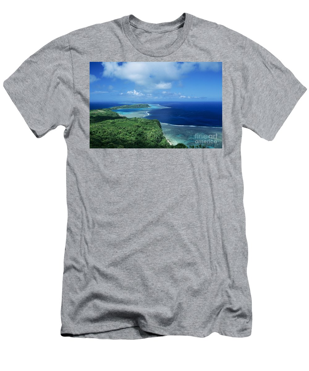Aerial Men's T-Shirt (Athletic Fit) featuring the photograph Wakaya Coastline by Larry Dale Gordon - Printscapes