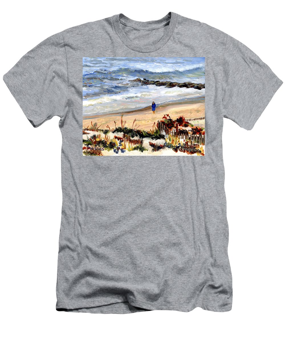 Long Beach Island Men's T-Shirt (Athletic Fit) featuring the painting Walking The Beach On Long Beach Island by Pamela Parsons