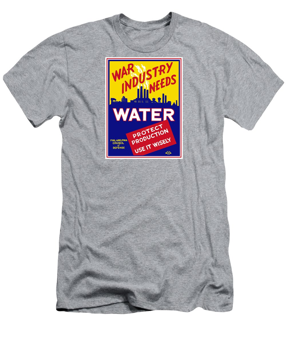 Wwii Men's T-Shirt (Athletic Fit) featuring the mixed media War Industry Needs Water - Wpa by War Is Hell Store