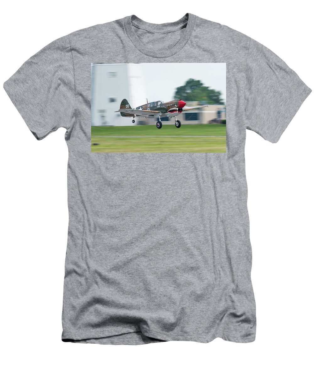 P-40 Men's T-Shirt (Athletic Fit) featuring the photograph Warhawk Rolling Out by Christian Gross