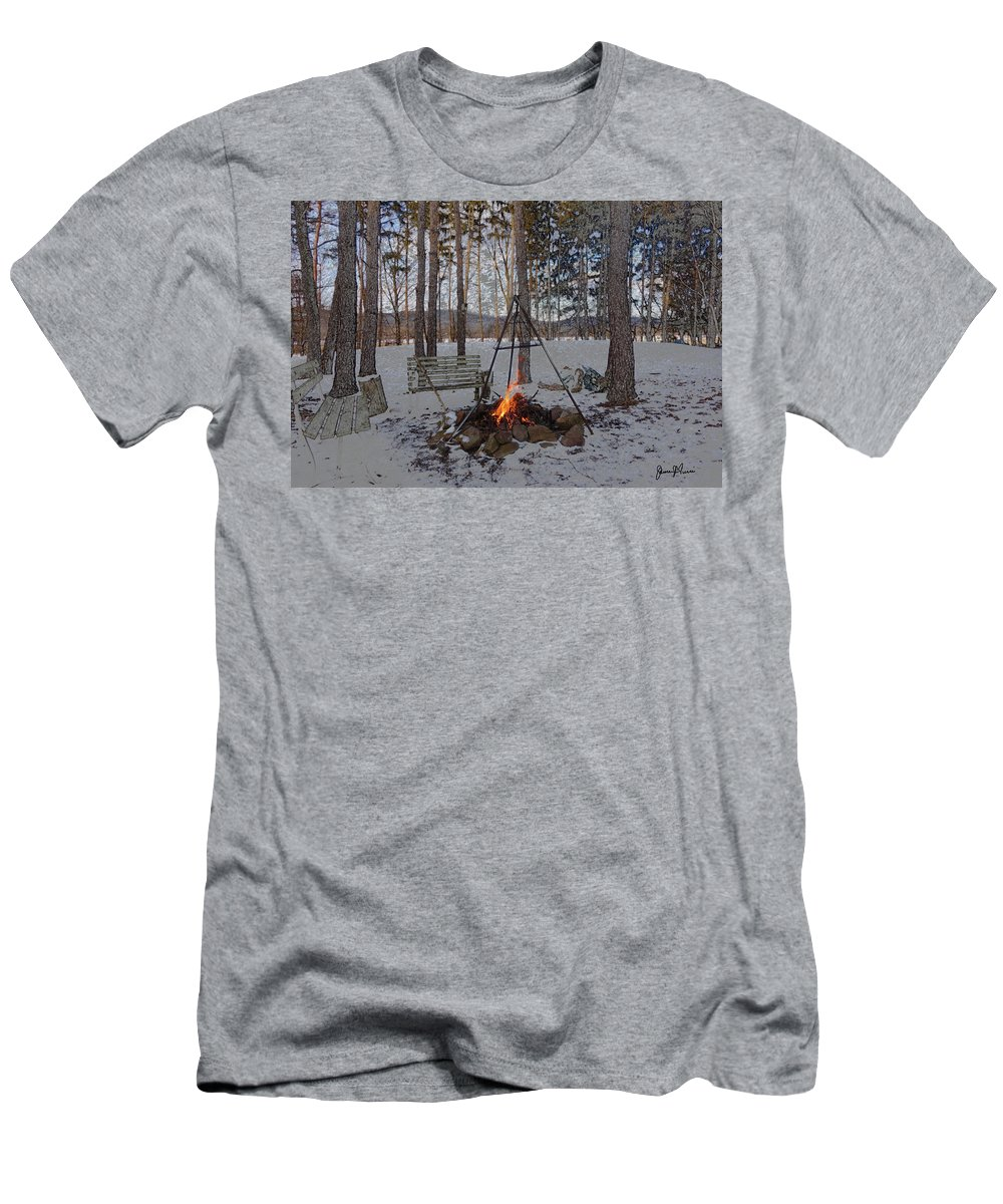 Forest Men's T-Shirt (Athletic Fit) featuring the photograph Warm Camp Fire by Jim Turri