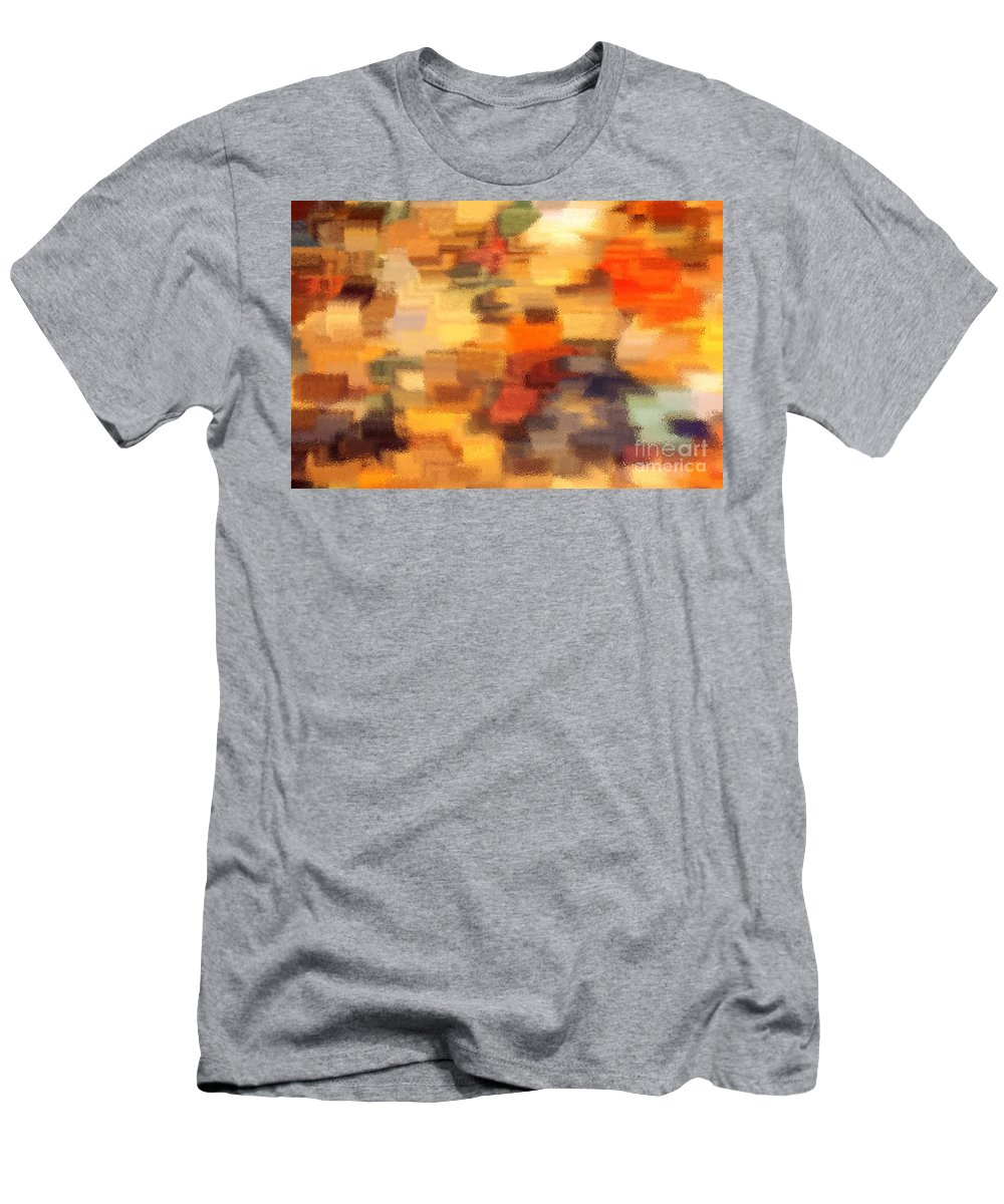 Abstract Men's T-Shirt (Athletic Fit) featuring the photograph Warm Colors Under Glass - Abstract Art by Carol Groenen