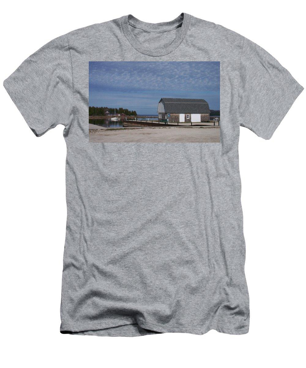 Washington Island Men's T-Shirt (Athletic Fit) featuring the photograph Washington Island Harbor 1 by Anita Burgermeister