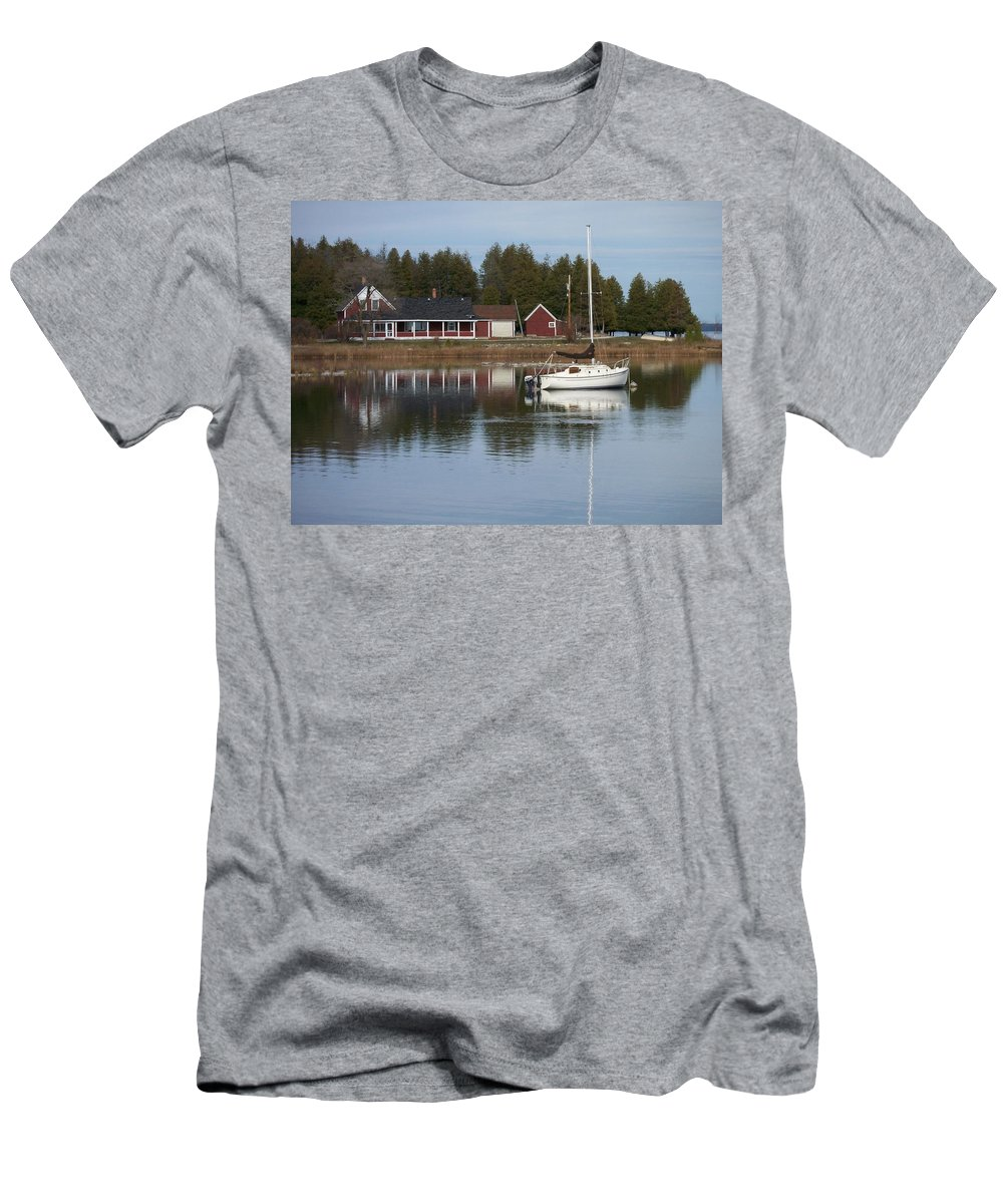 Washington Island Men's T-Shirt (Athletic Fit) featuring the photograph Washington Island Harbor 4 by Anita Burgermeister