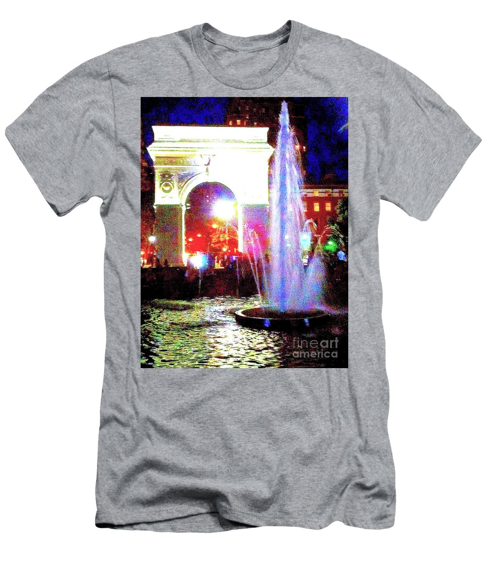 Washington Square Men's T-Shirt (Athletic Fit) featuring the photograph Washington Square Fountain At Night 11b by Ken Lerner
