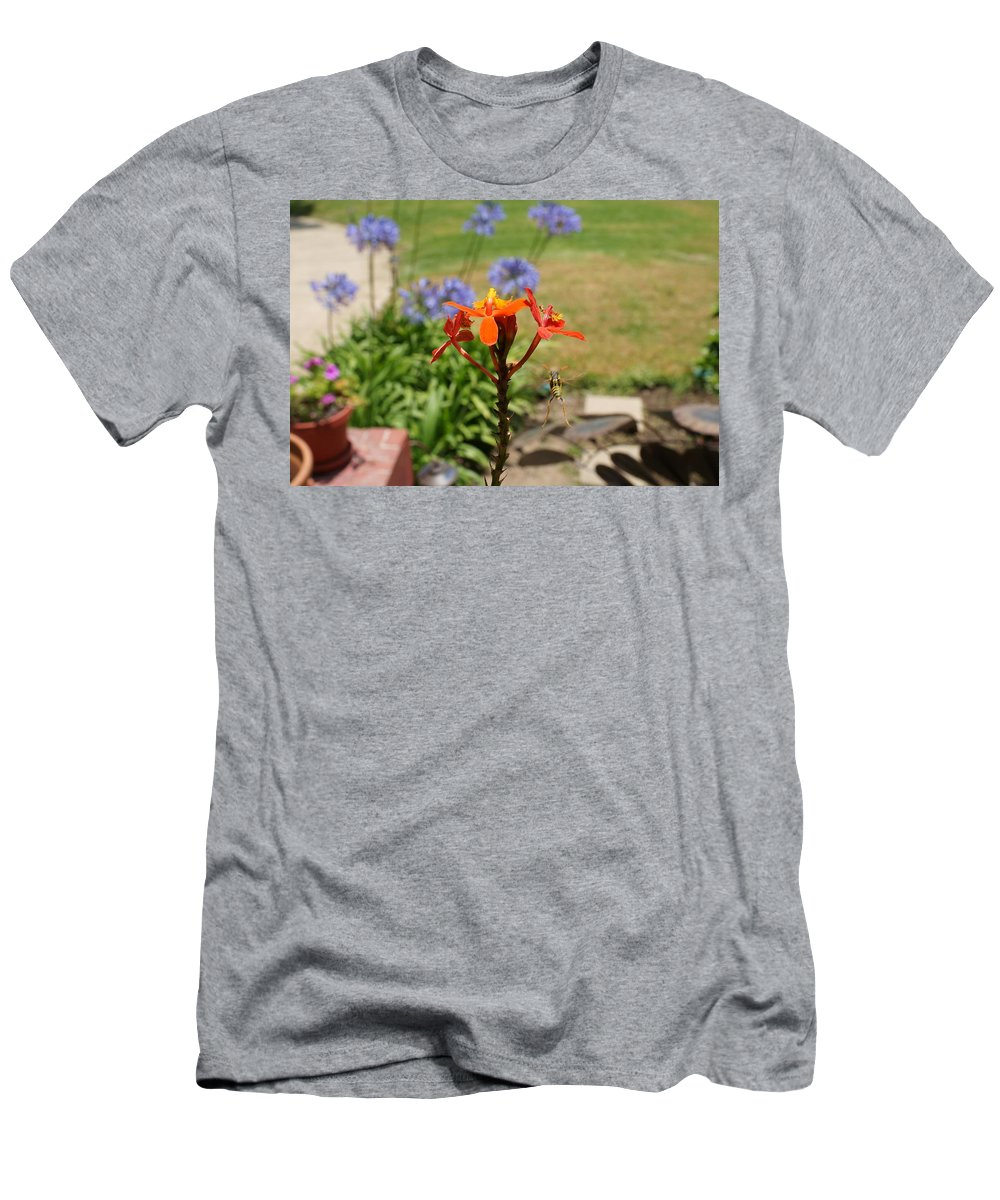 Braley Men's T-Shirt (Athletic Fit) featuring the photograph Wasp In Flight by Robert Braley