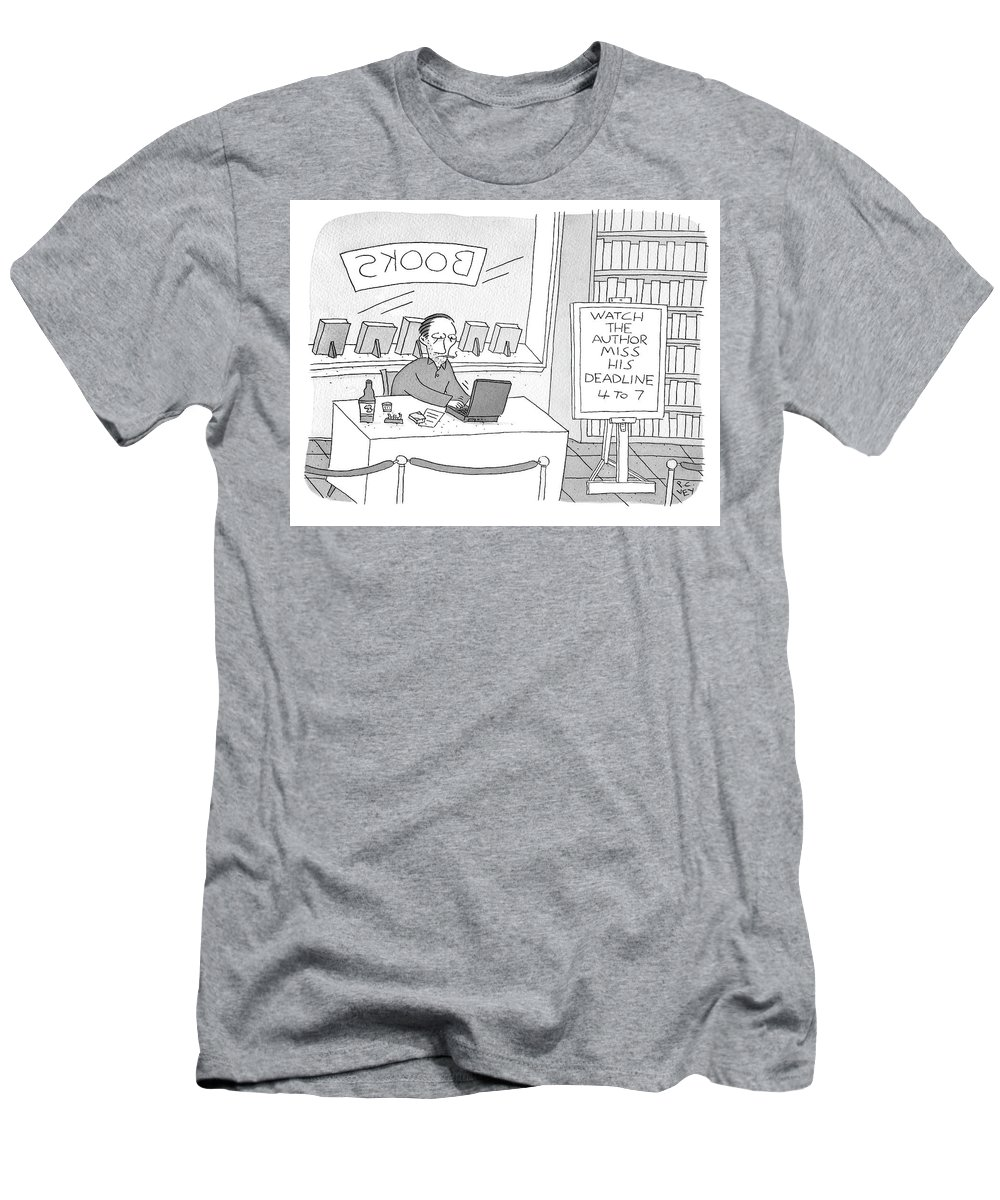 """watch The Author Miss His Deadline 4 To 7"" T-Shirt featuring the drawing Watch The Author Miss His Deadline by Peter C Vey"