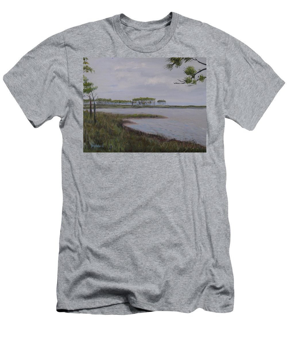 Landscape Beach Coast Tree Water Men's T-Shirt (Athletic Fit) featuring the painting Water Color by Patricia Caldwell
