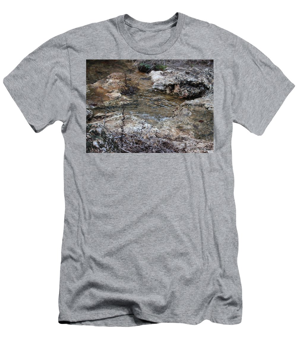 Water Men's T-Shirt (Athletic Fit) featuring the photograph Water Going To The Falls by Emily Spivy
