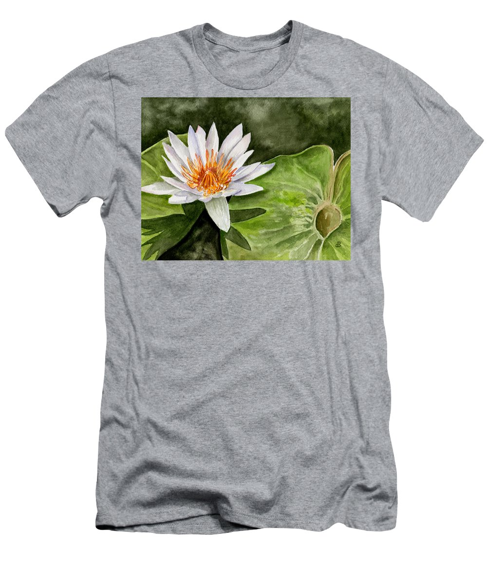 Flower Floral Water Lily Watercolor Men's T-Shirt (Athletic Fit) featuring the painting Water Lily by Brenda Owen