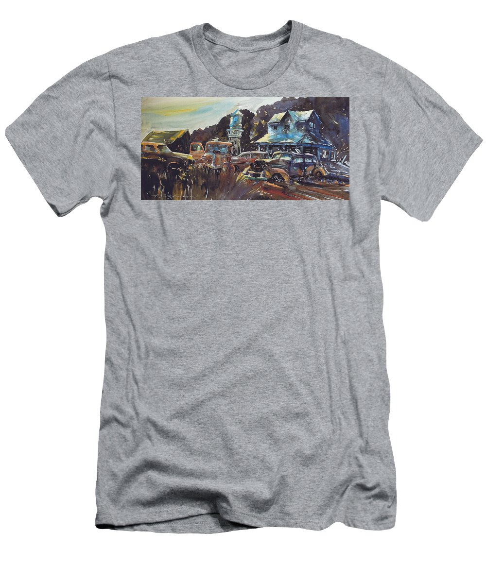 Old Cars T-Shirt featuring the painting Water Tower Wardens by Ron Morrison
