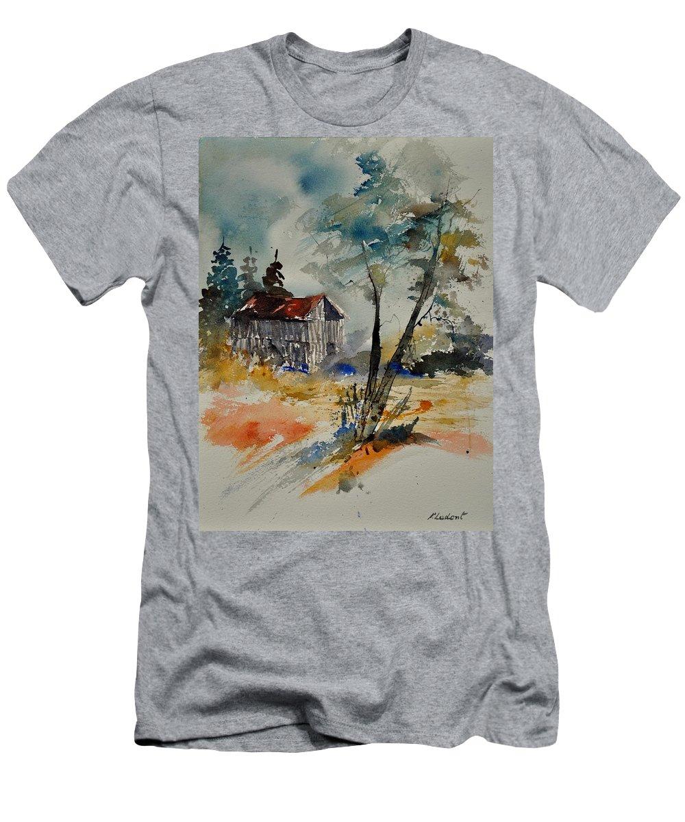 Landscape Men's T-Shirt (Athletic Fit) featuring the painting Watercolor 119070 by Pol Ledent