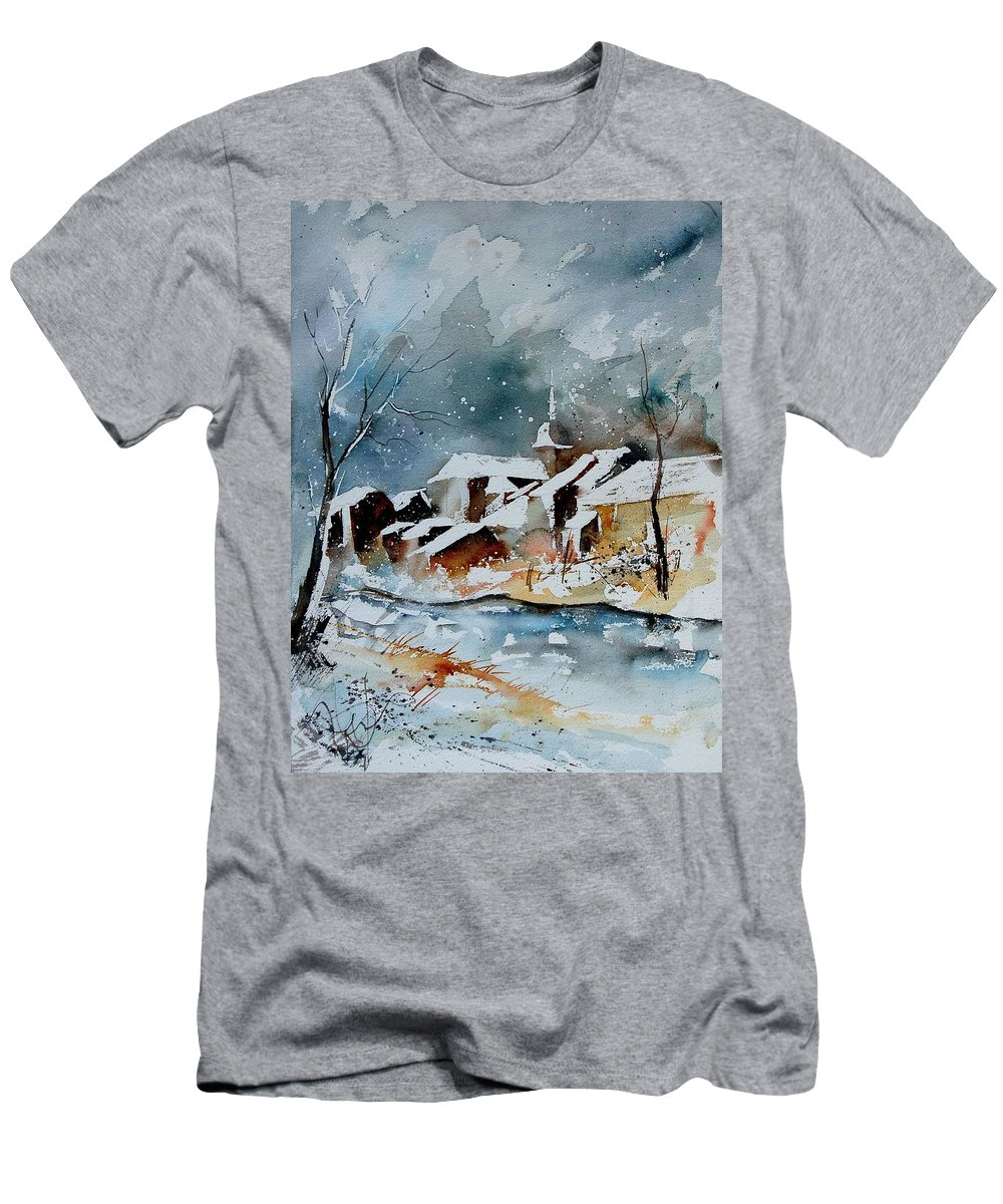 Winter Men's T-Shirt (Athletic Fit) featuring the painting Watercolor 190607 by Pol Ledent