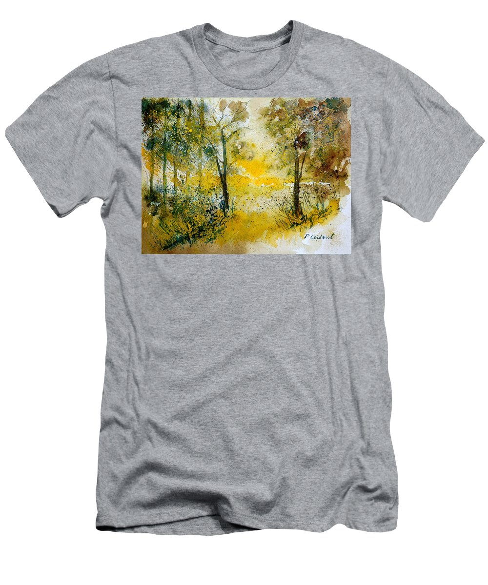 River Men's T-Shirt (Athletic Fit) featuring the painting Watercolor 210108 by Pol Ledent