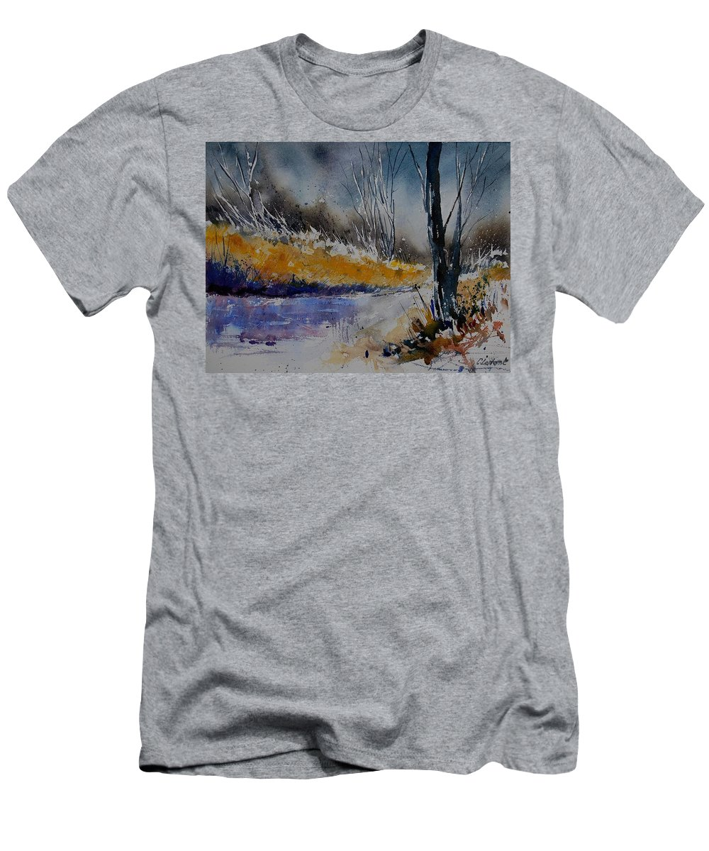 River Men's T-Shirt (Athletic Fit) featuring the painting Watercolor 902111 by Pol Ledent
