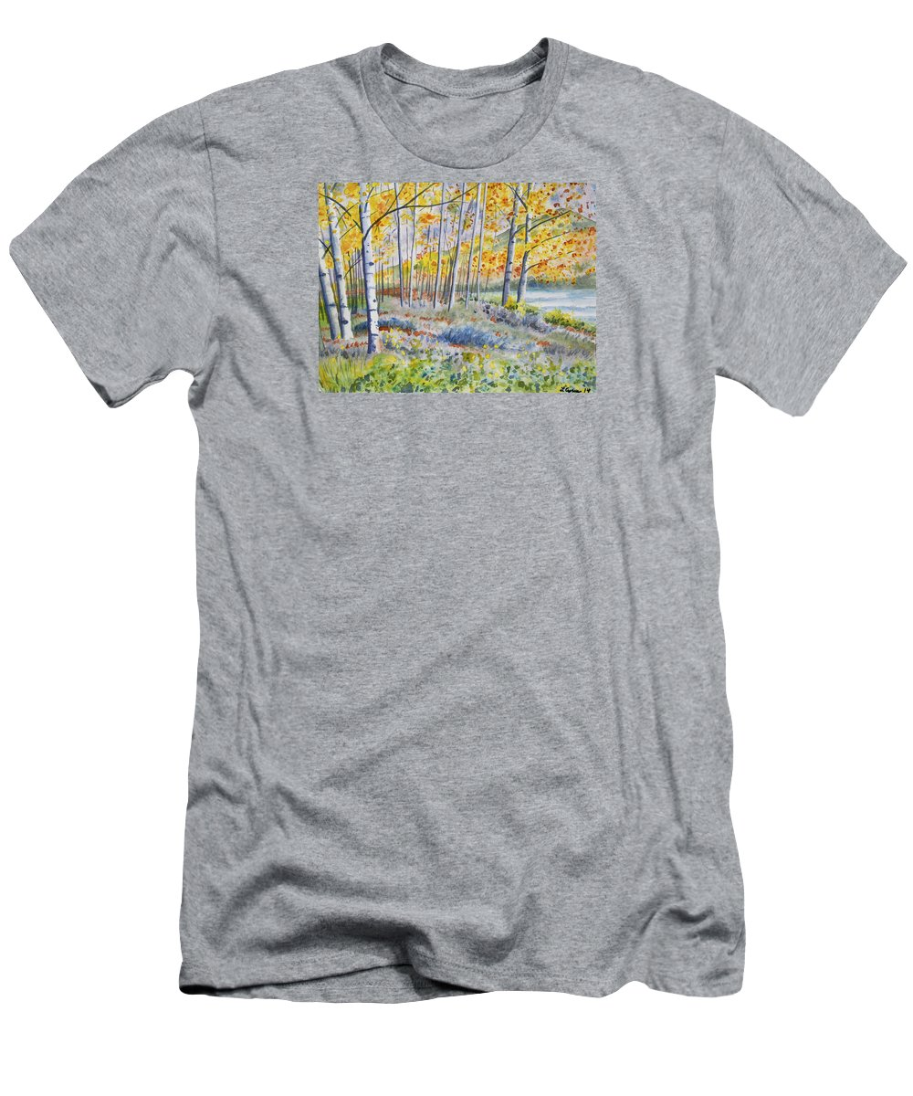 Autumn Men's T-Shirt (Athletic Fit) featuring the painting Watercolor - Colorado Autumn Forest And Landscape by Cascade Colors