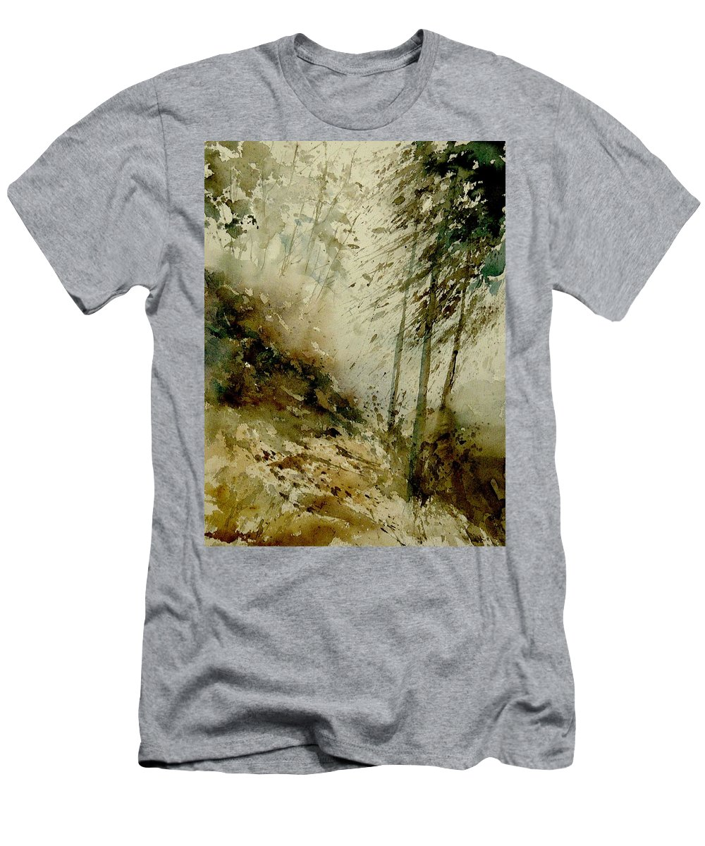 Landscape Men's T-Shirt (Athletic Fit) featuring the painting Watercolor Misty Atmosphere by Pol Ledent