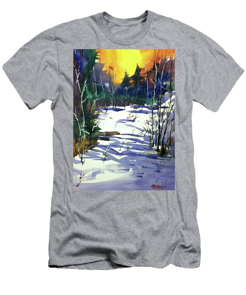 Colorado Landscape Men's T-Shirt (Athletic Fit) featuring the painting Watercolor3538 by Ugljesa Janjic