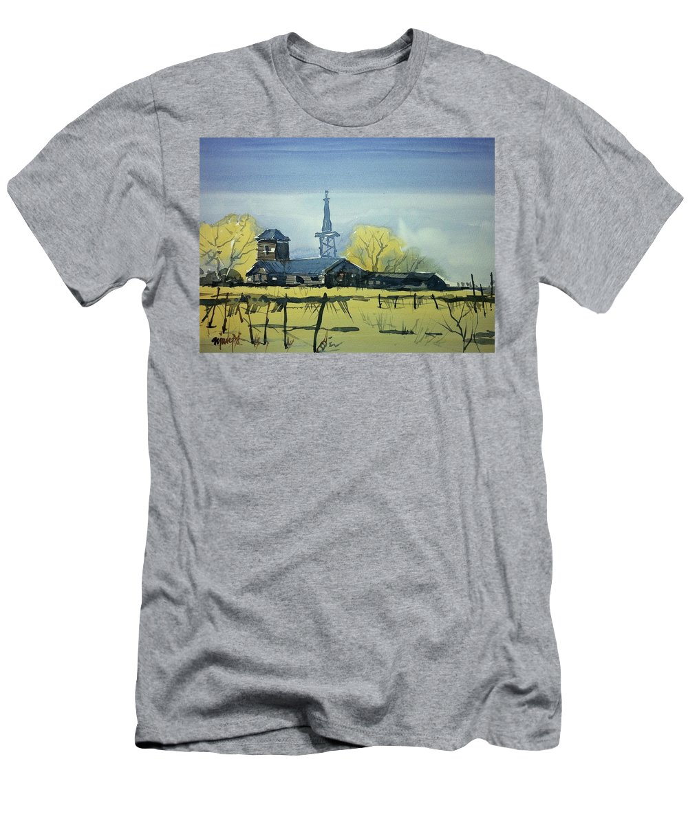Colorado Landscape Men's T-Shirt (Athletic Fit) featuring the painting Watercolor3607 by Ugljesa Janjic