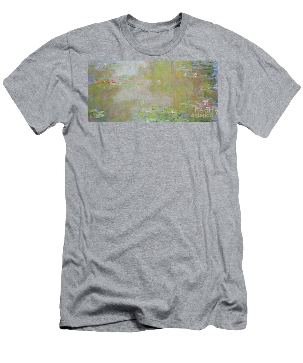 Waterlilies At Giverny Men's T-Shirt (Athletic Fit) featuring the painting Waterlilies At Giverny by Claude Monet