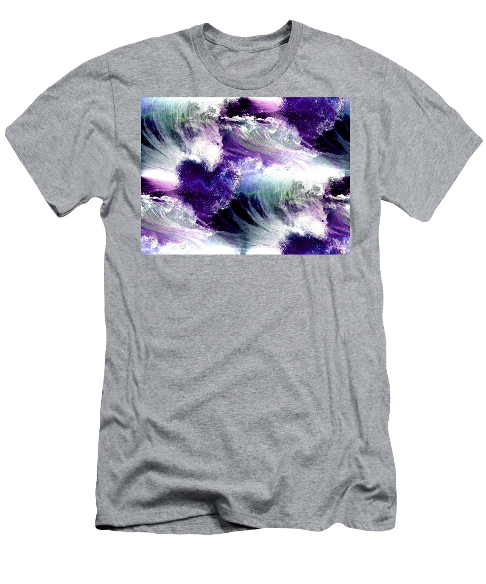 Waves Of Love Men's T-Shirt (Athletic Fit) featuring the digital art Waves Of Love - Multi Purple Teal by Artistic Mystic