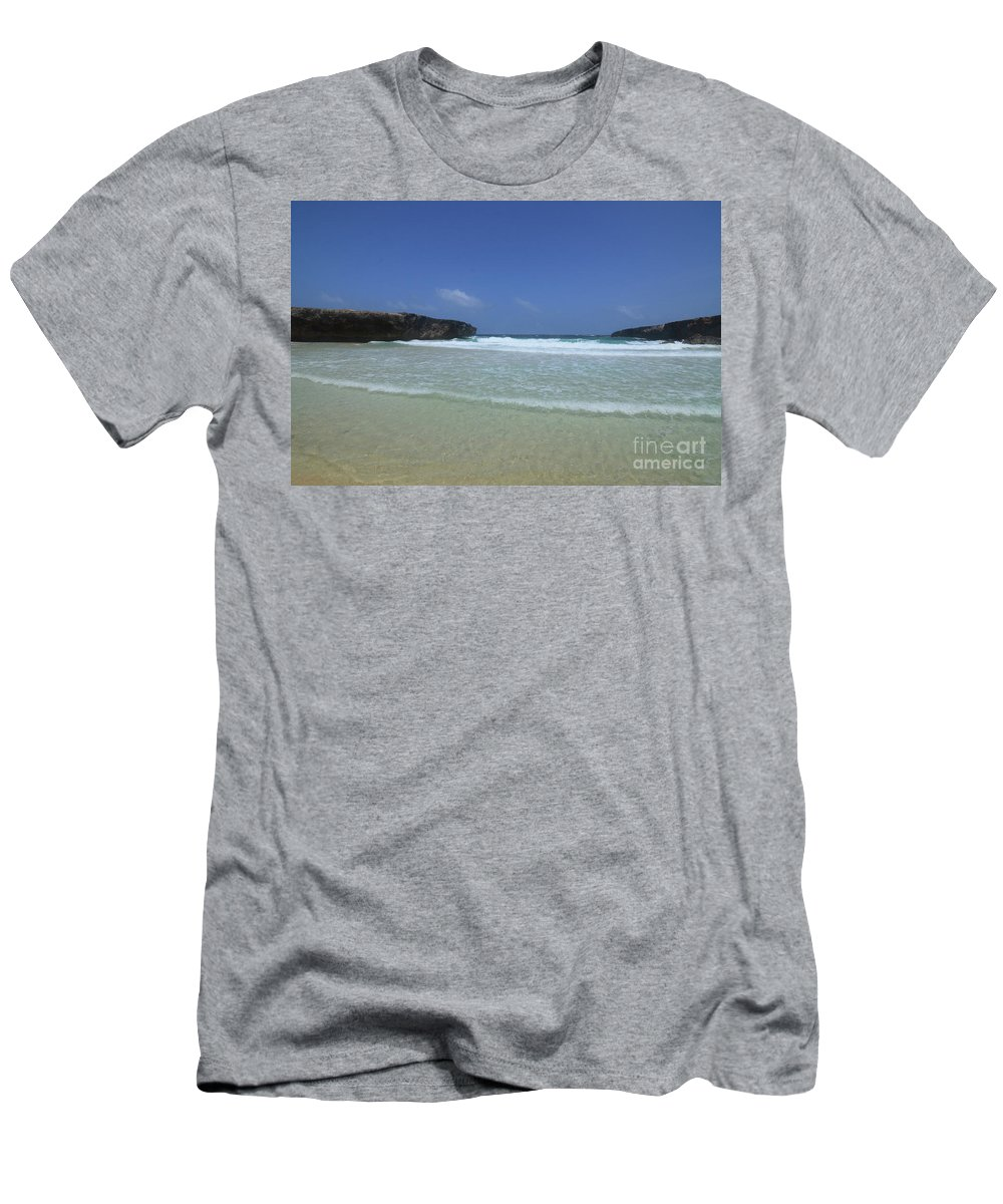 Boca Keto Men's T-Shirt (Athletic Fit) featuring the photograph Waves Rolling Ashore On The Beach Of Boca Keto by DejaVu Designs