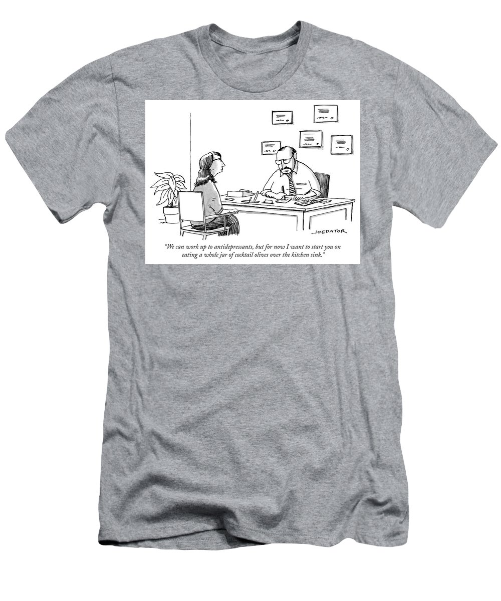 """""""we Can Work Up To Antidepressants Men's T-Shirt (Athletic Fit) featuring the drawing We Can Work Up To Antidepressants by Joe Dator"""